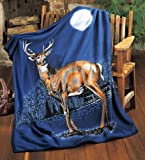 Collections Etc - Night Deer Winter Fleece Throw Blanket