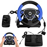 Yosoo- 3 in 1 Game Steering Wheel, 180 Degrees Universal USB Computer Vibration Racing Game Wheel Plus Pedal Racing Game Simulator for Xbox PS2 PS3 PC and Android Mobile PlayStation Accessories (Color: default)