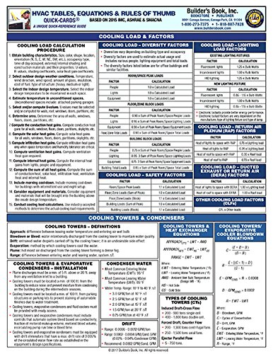 HVAC Tables, Equations & Rules of Thumb Quick-Card (Hvac Quick Reference compare prices)