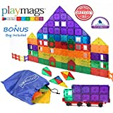 Award Winning Playmags Clear Colors Magnetic Tiles Deluxe Building Set 100 Piece Set with Car + Includes Free Bonus Bag - Great Gift for Kids