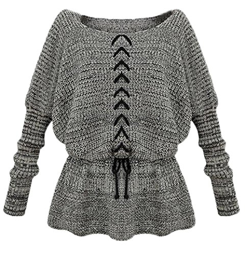 Autumn Winter Women Pullover Knitted Sweater Loose Sweater Jumper (Gray)