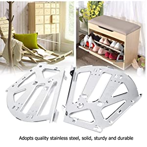 2Pcs Hinges Stainless Steel Shoes Drawer Cabinet Hinges Turing Rack Replacement Fittings Heavy Duty Household Wardrobes Cabinets Industrial Hinges(3 Layers) (Tamaño: 3 Layers)