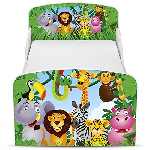 PriceRightHome Jungle Design MDF Toddler Bed no storage + Fully Sprung Mattress