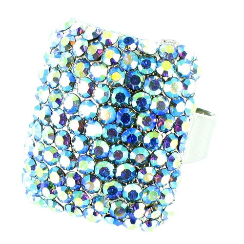 Blue On Silver Plated Crystal Wag Ring front-560921