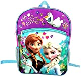 Disney Frozen Girls Large Backpack - Pink and Purple with Blue Trim