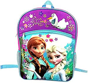 Disney Frozen Girl's Large Backpack - Pink and Purple with Blue Trim