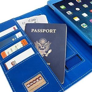 Snugg iPad Hülle - Smart Cover mit Aufsteller, elastischer Handschlaufe, Stylus-Halterung und Premium Nubuck Innenfutter Blau electric blue iPad Mini & iPad Mini 2 Executive