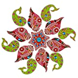 Creations 13 Piece Wooden Rangoli With Kundan Work RAN0002 (45 Cm * 45 Cm * 0.5 Cm)