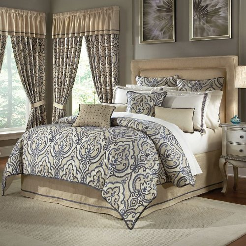 Veratex Francesca Comforter Set, Queen, Platinum front-867554