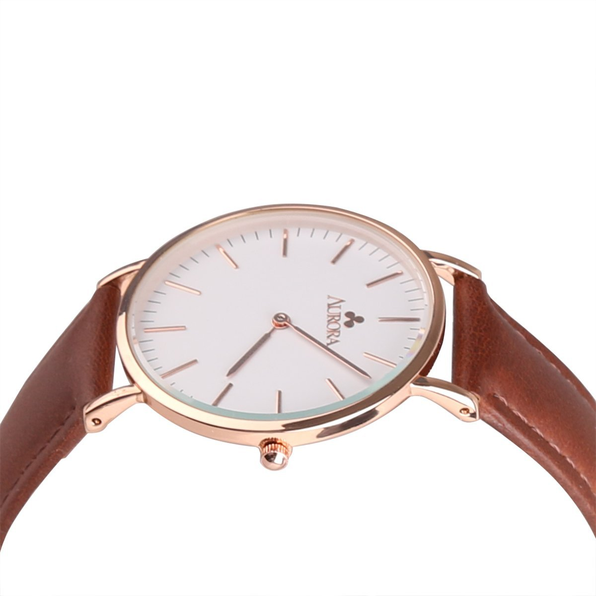 Aurora Women's Metal Retro Casual Round Dial Quartz Analog Wrist Watch with Brown Leather Band-Rose Gold 1