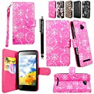 Cellularvilla Wallet Case for BLU Dash 5.0 D410A Pink Glitter Pu Leather Wallet Card Flip Open Pocket Case Cover Pouch + Stylus Touch Pen