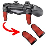 eXtremeRate Red Black L2 R2 Buttons Extention Trigger, Soft Touch Grip Extenders, Game Improvement Adjusters for Playstation 4 PS4 Pro PS4 Slim Controller (1 Pair) (Color: Red Black)