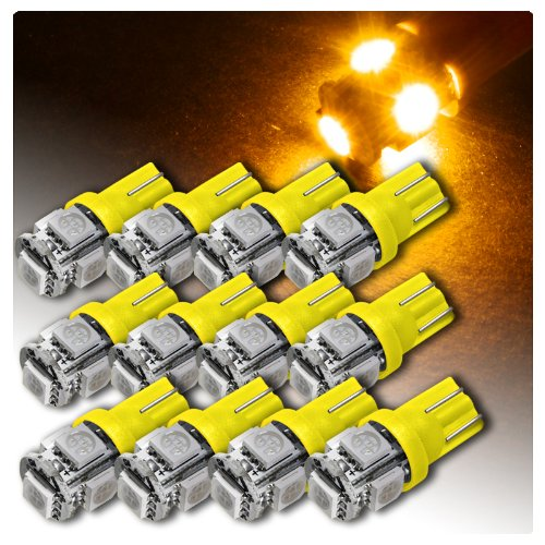 12 X 5 Smd Led T10 Interior Instrument Panel Replacement Bulb #194 - Amber