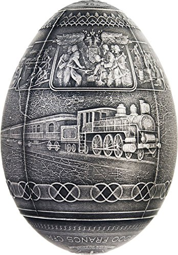 2016 CM trans siberian egg TRANS SIBERIAN RAILWAY EGG Imperial Faberge Eggs Antique Finish 7 Oz Silver Coin 5000 Francs Cameroon 2016 Dollar Perfect Uncirculated