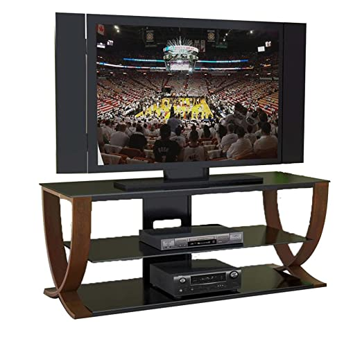 "Techni Mobili ""No Tools"" Tempered Glass & Steel TV Media Stand - Black"