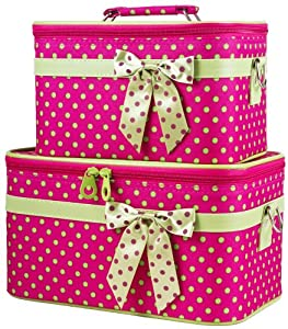 Pink and Green Polka Dot Makeup Train Cases with Mirror, 2 Piece Cosmetic Set