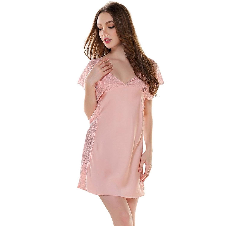 Aivtalk Damen Negligee Satin Kleid Nachthemd Sexy Pyjamas Imitation Seide Nachtwäsche Unifarben Lace Nachtkleid V-Ausschnitt Sleepwear - Farbe/Größe Wählbar