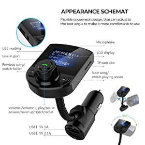 Wireless in-Car Bluetooth FM Transmitter Radio Adapter Car Kit W 1.44 Inch Display Supports TF/SD Card and USB Car Charger for All Smartphones Audio P