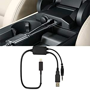Car USB Aux Adapter 3.5MM Lead for BMW/Mini Cooper, Y Cable Charging Music Interface Compatible for iPXs Xs Max XR X 8 7 7 Plus i-Pod i-Pad and Android Devices