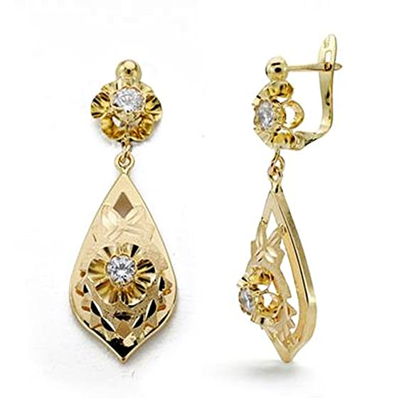 18k gold earrings zircon stoned 31mm long. [AA0077]