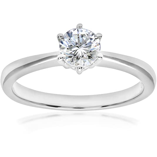 Naava 18ct 6 Claw Engagement Ring, G/SI2 EGL Certified Diamond, Round Brilliant, 0.50ct