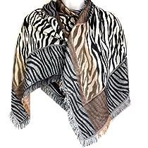 Zebra Animal Print Mix Fringed Pashmina Shawl Scarf Stole Wrap