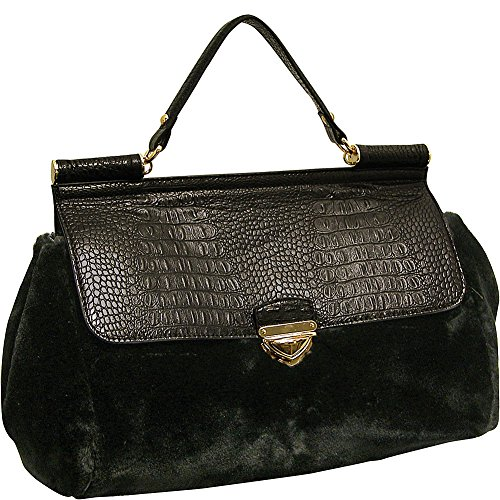 adrienne-landau-rolled-strap-top-handle-satchel-black