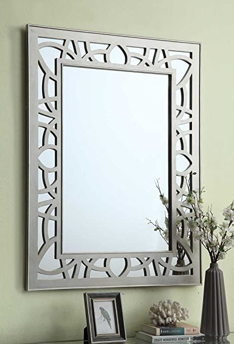 Venetian Champagne Fret Work and Mirrored Glass Rectangular Wall Mirror