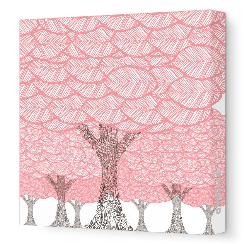 "Avalisa Stretched Canvas Nursery Wall Art, Forest, Coral, 18"" x 18"""