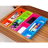 Small Size 4 Pack New Fashionable Decorative Expandable Grid Drawer Organizer Divider Storage Plastic Stackable Box,Space Saving,Red,Blue,Green,Orange