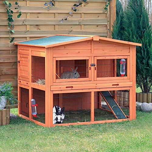 TRIXIE-2-Story-Rabbit-Hutch-With-Attic-Extra-Large