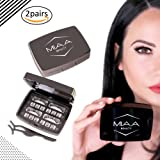 MIAA [ 2 Pair Triple Piece Magnetic Eyelashes] - 100% Premium Hand Made Full Eye Silk False Lashes with Applicator and Mirror Case - Easy to Apply - Glue Free - Non-Allergic Reusable & Lightweight