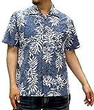 (ルーシャット) ROUSHATTE アロハシャツ 半袖 シャツ ハイビスカス 20柄 M ネイビー