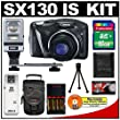 Canon PowerShot SX130 IS Digital Camera (Black) with 16GB Card + Flash + (4) AA Batteries & Charger + Accessory Kit