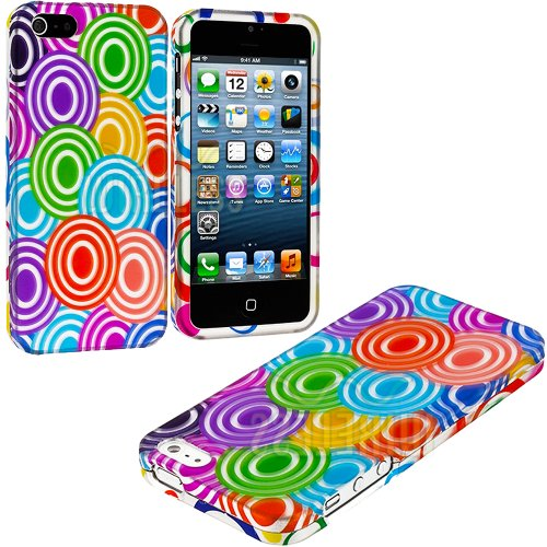 Mylife (Tm) Rainbow Circles Series (2 Piece Snap On) Hardshell Plates Case For The Iphone 5/5S (5G) 5Th Generation Touch Phone (Clip Fitted Front And Back Solid Cover Case + Rubberized Tough Armor Skin + Lifetime Warranty + Sealed Inside Mylife Authorized
