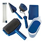 Paint Roller Kit 8 Pcs Paint Runner Set Paint Runner Pro Paint Roller Brush Handle Tool Flocked Edger Corner Cutter Home Office Wall Printing Tool Set (Color: Blue & Black, Tamaño: set of 8)