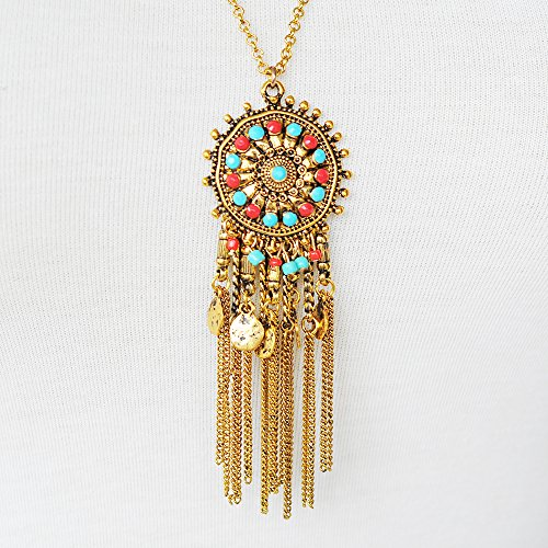 Real Spark Sun Shape Long Tassels Silver Plated Single Necklace