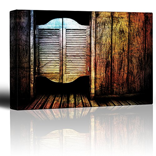 Wall26 - Entry to a wild west saloon - Cantina batwing doors - Cracked wood vintage feeling - Americana rustic artwork - Canvas Art Home Decor - 16x24 inches