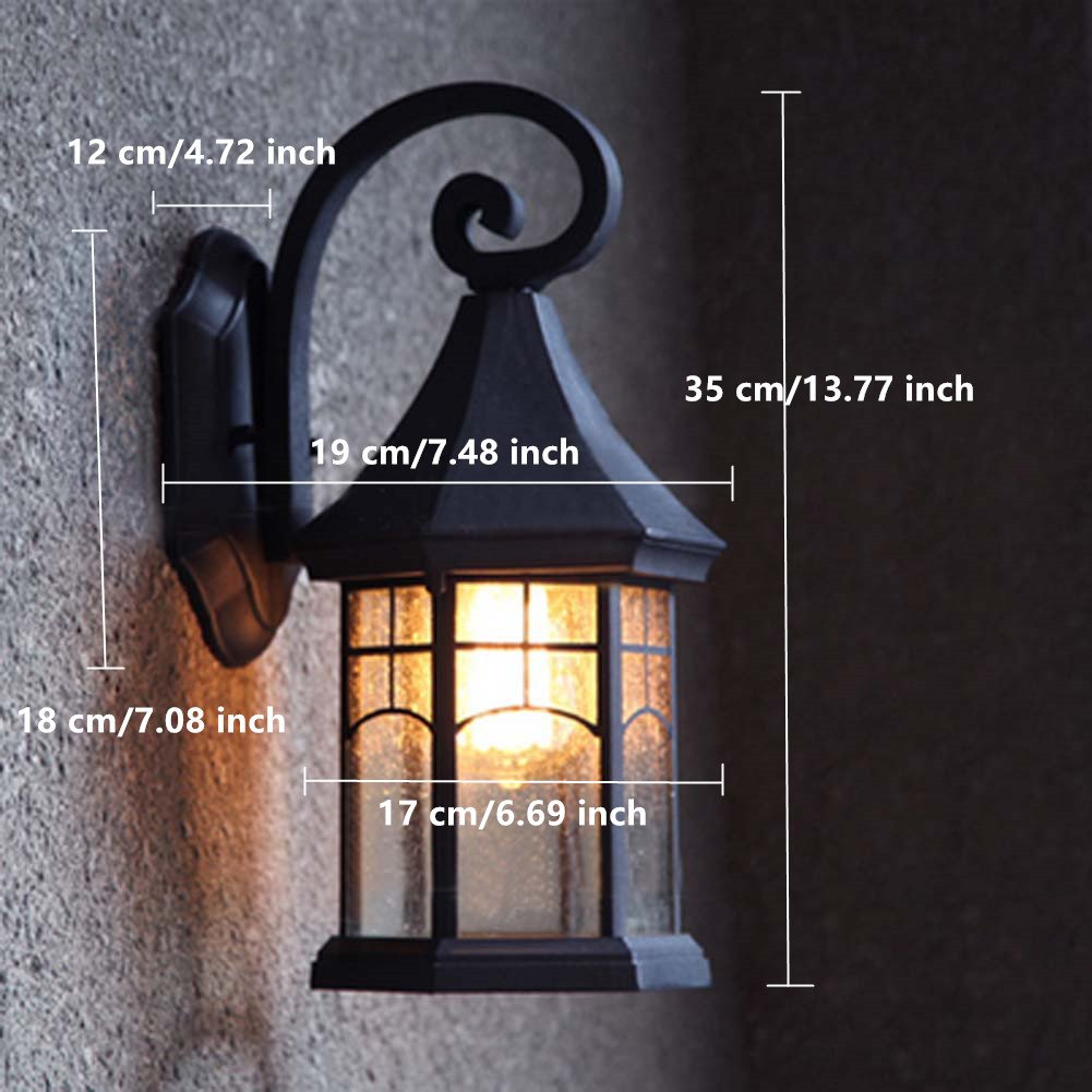 BAYCHEER HL409901 Industrial Retro Style Aged Pewter Brushed waterproof Outdoor Wall Light Wall Sconce with 1 Light 3