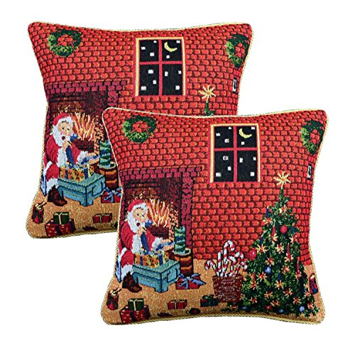 Queenie - 2 Pcs Christmas Series Tapestry Decorative Pillowcase Cushion Cover for Sofa Throw Pillow Case with Cord 18 X 18 Inch (45 X 45 Cm) (2, Santa in front of fireplace) (Front Cover Of Fireplace compare prices)