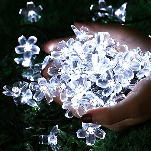 Qedertek Solar String Lights, Cherry Blossom 22ft 50 LED Waterproof Outdoor Lighting for Indoor ...