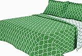 Melange Home Trellis Brushed Microfiber Quilt Set, Full/Queen, Green