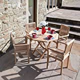 5 Piece Patio Garden Set: Folding Octagon Teak Table with 4 Teak Armchairs Sensational Price