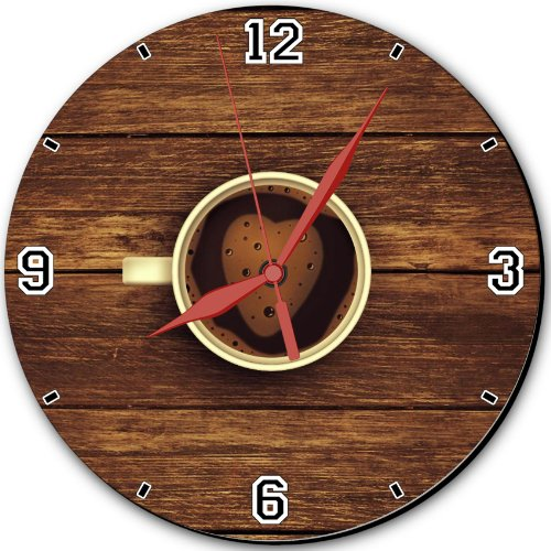 "Cup Coffee Foam Heart Wooden Heart 10"" Quartz Plastic Wall Round Clock Classic Analog Setting Customized Inch Hand Needle Msd Made To Order Support Ready Dial Time Personalized Gift Battery Operated Accessories Graphic Designed Model Hd Template Wallpaper"