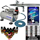 Master Airbrush® Brand Finger Nail Decorating System. 1 Airbrush, Air Compressor, Stencil Set of Over 100 Designs...