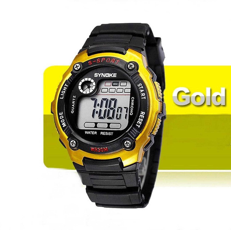 KANO BAK Child Kids Boy girl Student Digital Quartz Alarm Sports Waterproof Christmas gift Watch Gold
