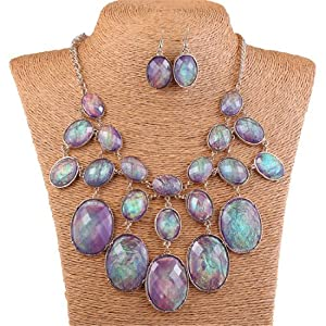 Qiyun Luxury Purple Shell Like Oval Bead Bib Bubble Statement Necklace Earrings Set Enveloppe Mauve Bulle Ovale Collier