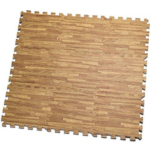 HemingWeigh Printed Wood Grain Interlocking Foam Anti Fatigue Floor Puzzle Mats - Makes a Superior Fitness, workout and exercise mat. Thick, Durable & Safe for all Ages- Set of 9 Tiles (Light Brown)