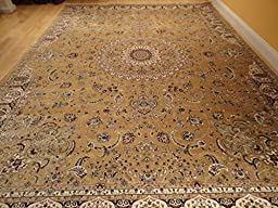 Large Rug Persian Silk Gold Rug 8x12 Gold Rugs Silk Tabriz Area Rugs Living Room Goldish Area Rugs Floor Carpet Dining Room Rug (Large 8\'x12\')