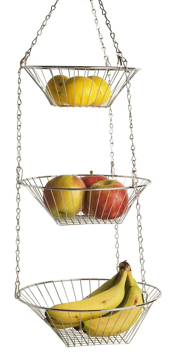 New Home Kitchen Hanging Fruit Vegetable Basket 3 Tiered Wire Baskets Storage Ebay